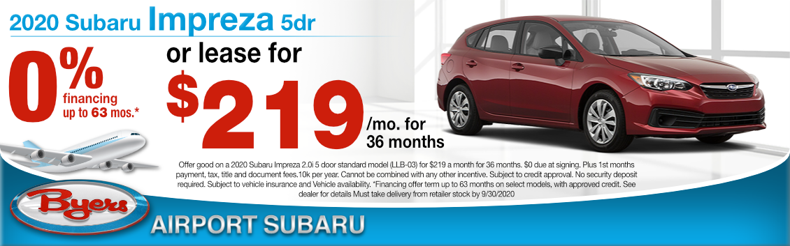 New New 2020 Subaru Impreza Lease or Financing Special at Byers Airport Subaru in Columbus, OH