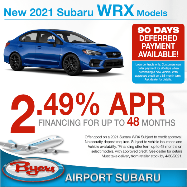 2021 Subaru WRX for 2.49% for up to 48 months in Columbus, OH