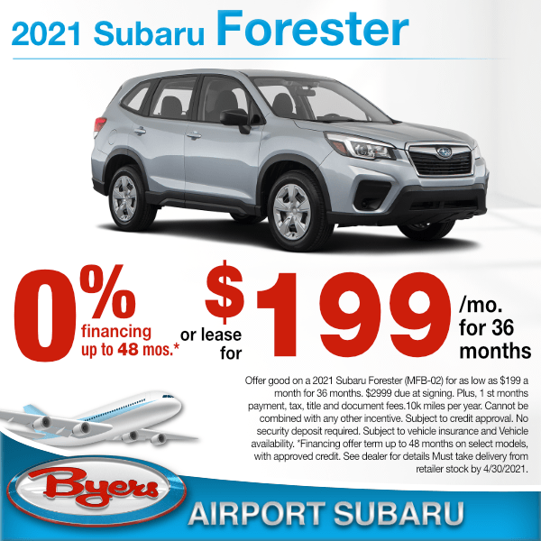2021 Subaru Forester for $199 a month for 36 months or 0% for 48 months in Columbus, OH