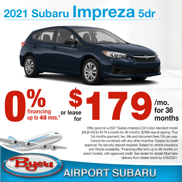 2021 Subaru Impreza 5 door for $179 a month for 36 months or 0% up to 48 months in Columbus, OH