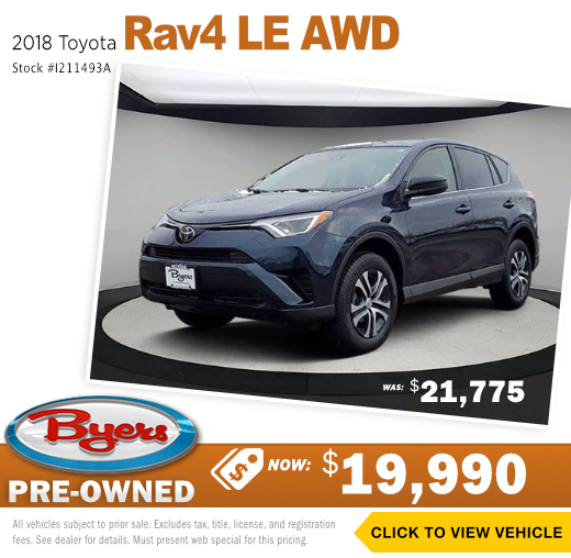 2018 Toyota Rav4 LE AWD Pre-Owned Special in Columbus, OH