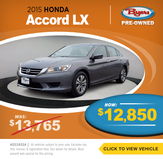 2015 Honda Accord LX Pre-Owned Special in Columbus, OH