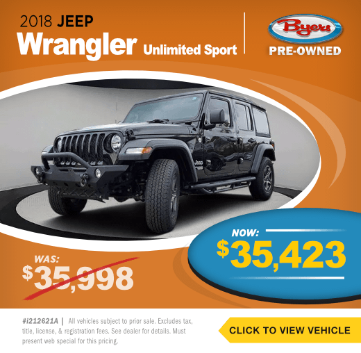 2018 Jeep Wrangler Unlimited SportPre-Owned Special in Columbus, OH