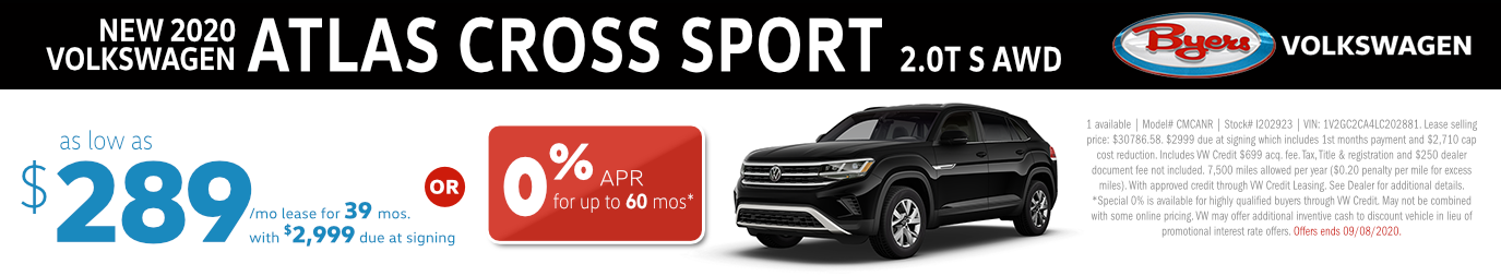 2020 VW Atlas Cross Sport 2.0T S AWD Lease or Low APR Special in Columbus, OH
