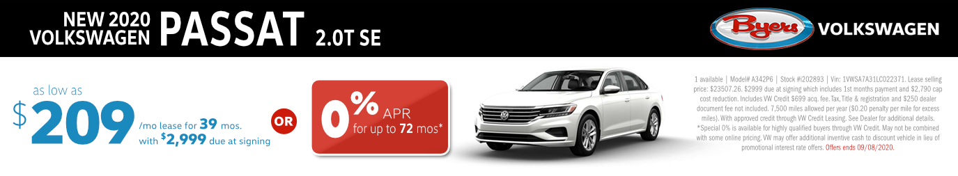 2020 VW Passat 2.0T SE Lease or Low APR Special in Columbus, OH