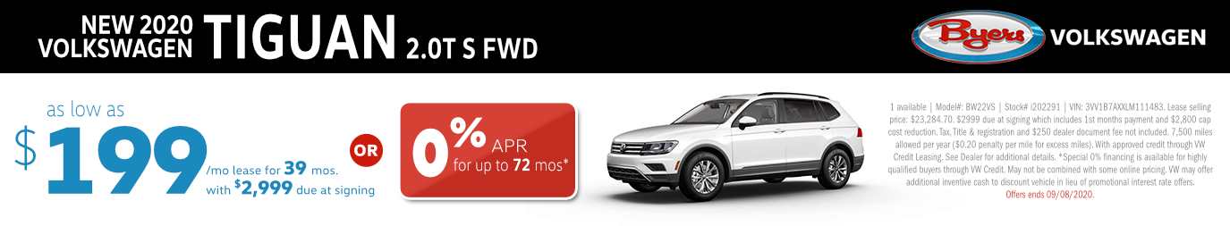 2020 Volkswagen Tiguan 2.0T S FWD Lease or Finance Special in Columbus, OH