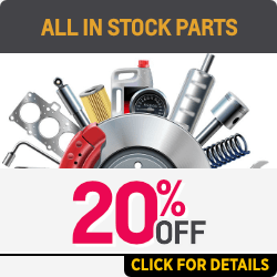 20% off all over the counter parts with the exception of accessories