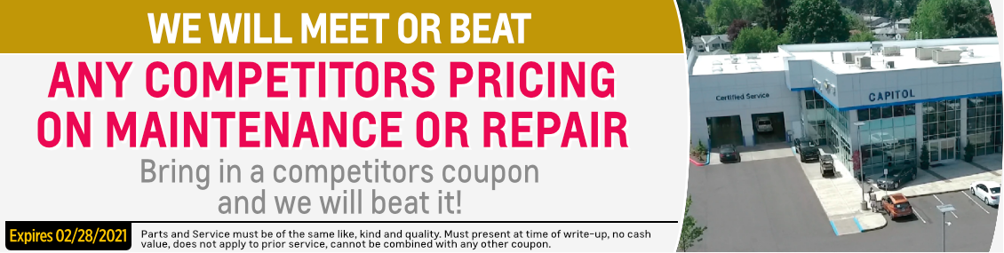 Let Us Meet or Beat Competitor Service Prices at Capitol Chevrolet in Salem, OR