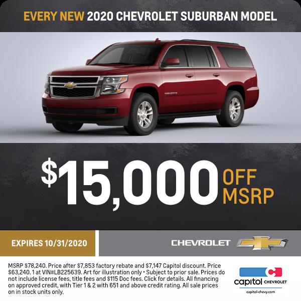 Sale Lease Savings On A New Chevrolet Suburban Salem Or