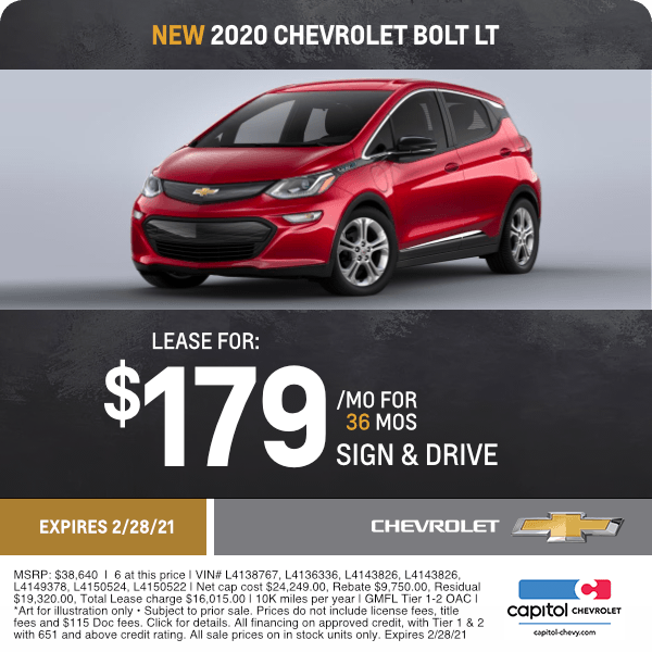 2020 Chevrolet Bolt LT Lease Special in Salem, OR