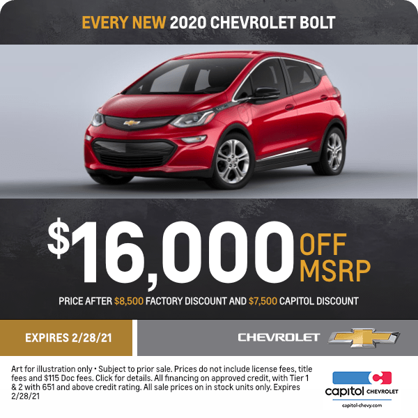 New 2020 Chevy Bolt Sales Special in Salem, OR