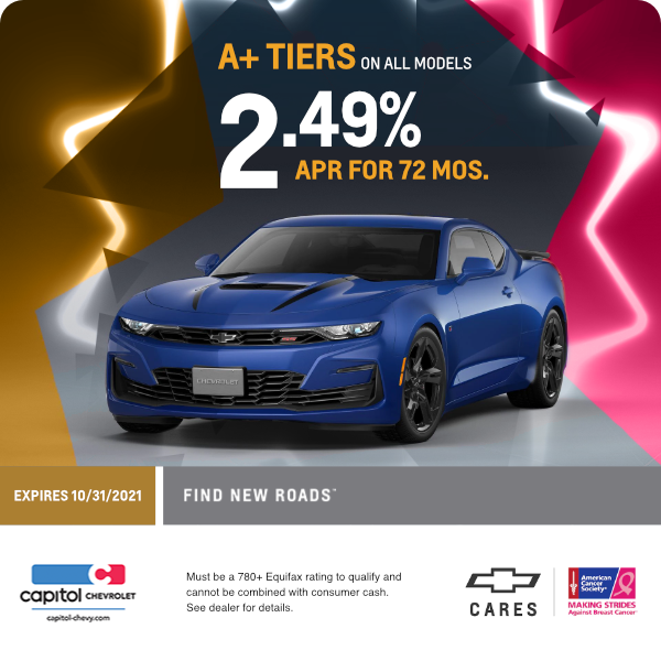 2.49% APR for 72 months for A+ Tiers on all models