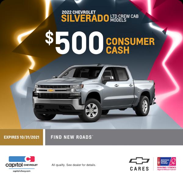 $500 Consumer Cash on 2022 Silverado LTD Crew Cab models