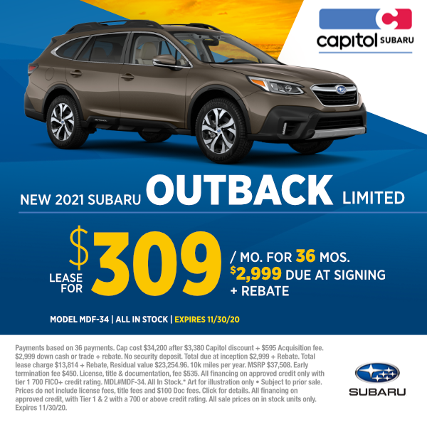 Lease a new 2021 Subaru Outback Limited at special discounted lease savings in Salem, OR