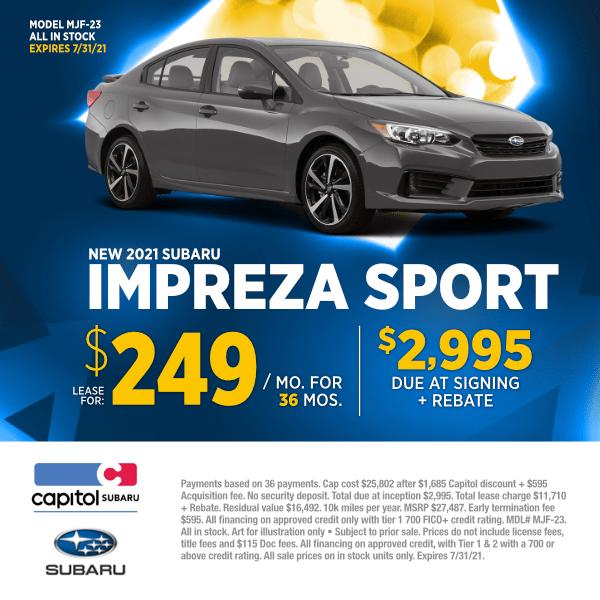 Lease a new 2021 Subaru Impreza Sport Sedan at special discounted lease savings in Salem, OR