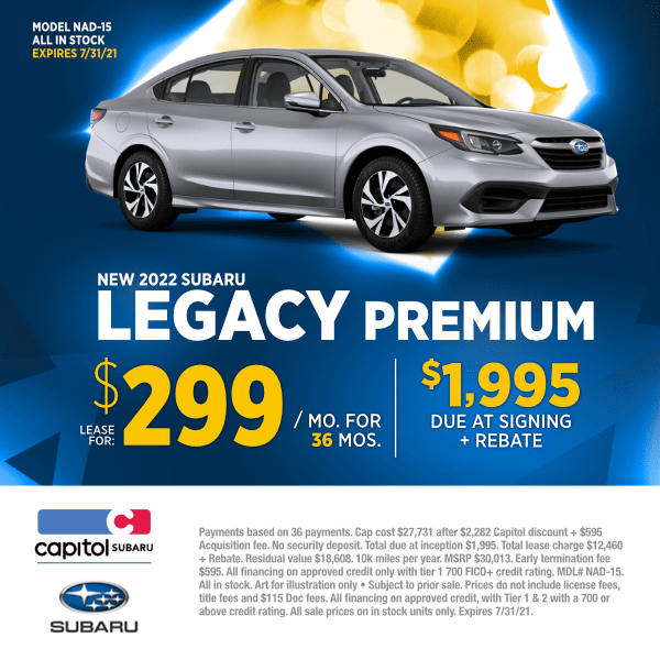 Lease a new 2022 Subaru Legacy Premium at special discounted lease savings in Salem, OR