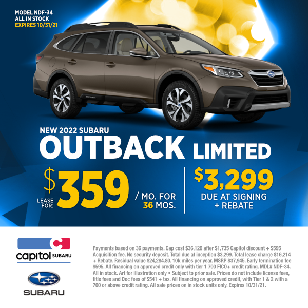 Lease a new 2022 Subaru Outback Limited at special discounted lease savings in Salem, OR