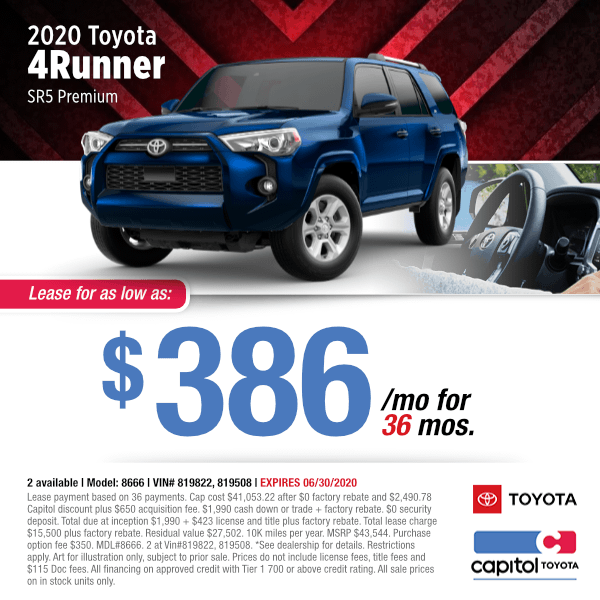 2020 Toyota 4Runner SR5 Premium Lease Special in Salem, OR