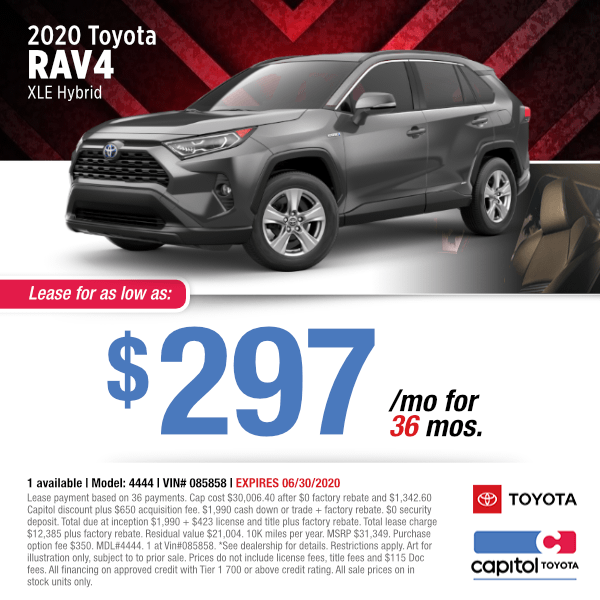 2020 Toyota RAV4 XLE Hybrid Lease Special in Salem, OR
