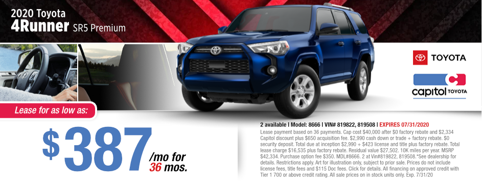 2020 Toyota 4Runner SR5 Lease Special at Capitol Toyota in Salem, OR