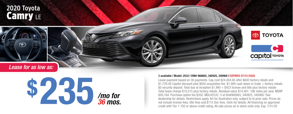 2020 Toyota Camry Lease Special at Capitol Toyota in Salem, OR