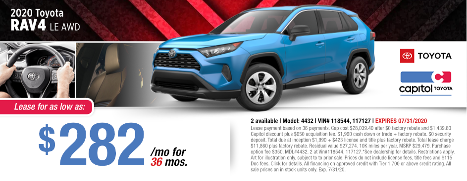 2020 Toyota RAV4 LE AWD Lease Special at Capitol Toyota in Salem, OR