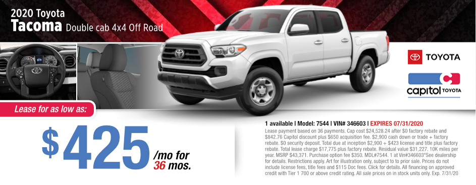 2020 Toyota Tacoma Double Cab Lease Special at Capitol Toyota in Salem, OR