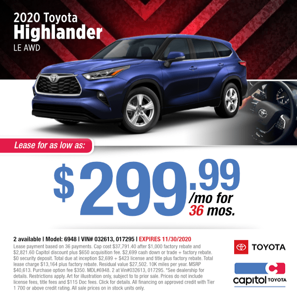 2020 Toyota Highlander LE AWD Lease Special in Salem, OR