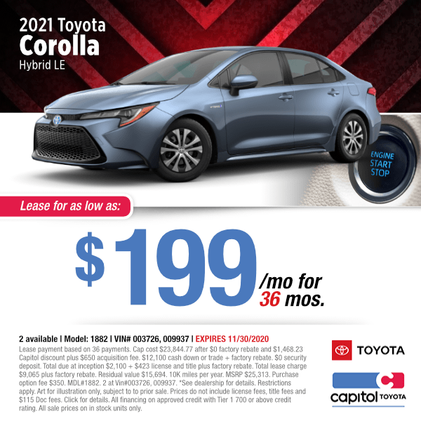 2021 Toyota Corolla LE Hybrid Lease Special in Salem, OR