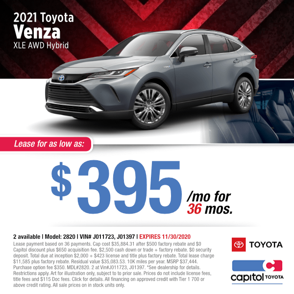 2021 Toyota Venza XLE AWD Hybrid Lease Special in Salem, OR