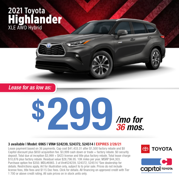2021 Toyota Highlander Lease Special at Capitol Toyota in Salem, OR