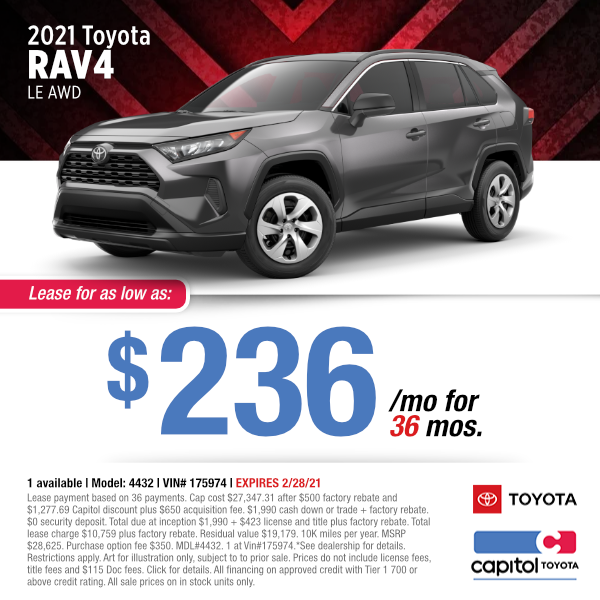 2021 Toyota RAV4 LE AWD Lease Special at Capitol Toyota in Salem, OR