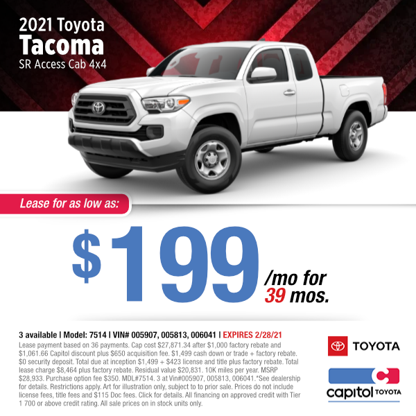 2021 Toyota Tacoma Lease Special at Capitol Toyota in Salem, OR