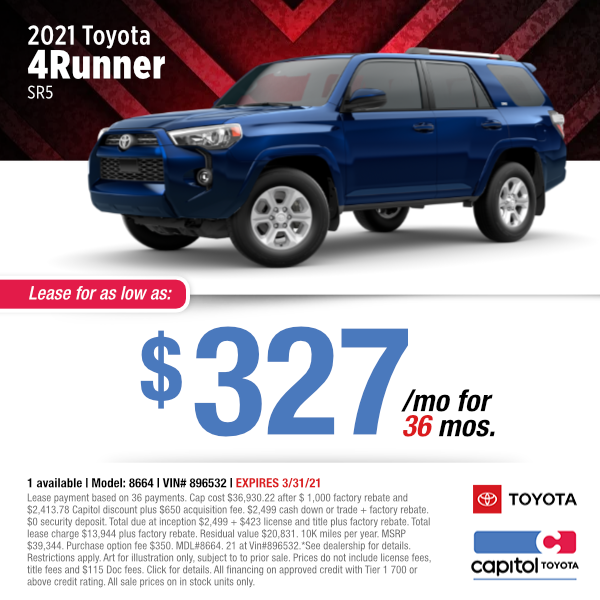 2021 Toyota 4Runner SR5 Lease Special at Capitol Toyota in Salem, OR