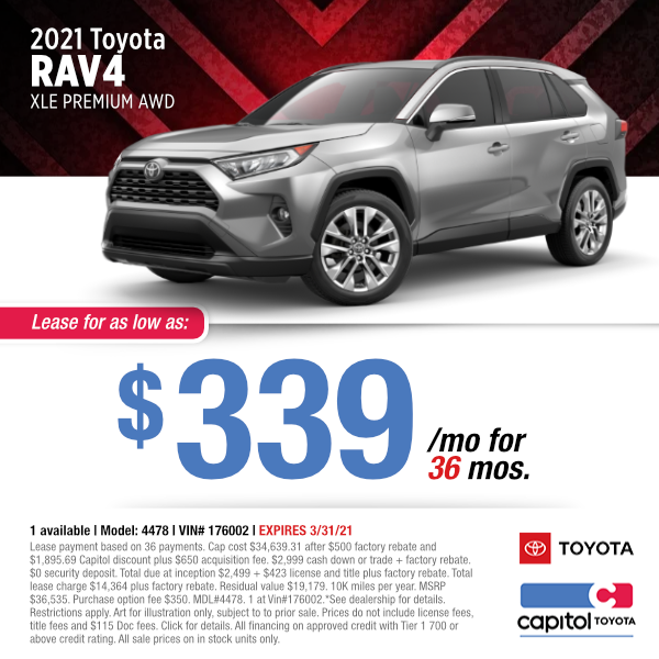 2021 Toyota RAV4 XLE Premium Lease Special at Capitol Toyota in Salem, OR