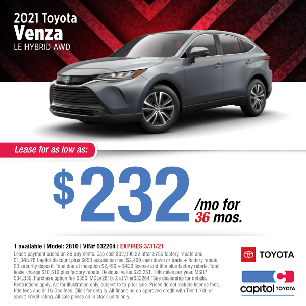 2021 Toyota Venza Le Hybrid Lease Special at Capitol Toyota in Salem, OR