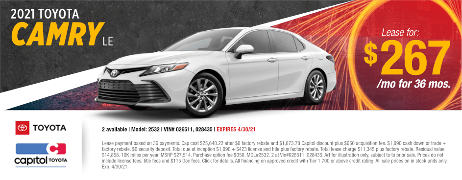 2021 Toyota Camry LE Lease Special at Capitol Toyota in Salem, OR