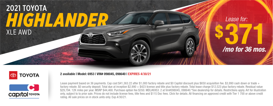 2021 Toyota Highlander XLE AWD Lease Special at Capitol Toyota in Salem, OR
