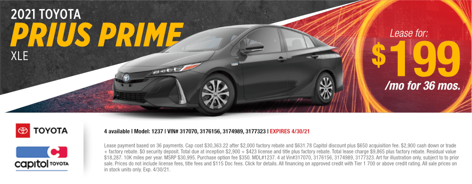 2021 Toyota Prius Prime XLE Sales Special at Capitol Toyota in Salem, OR