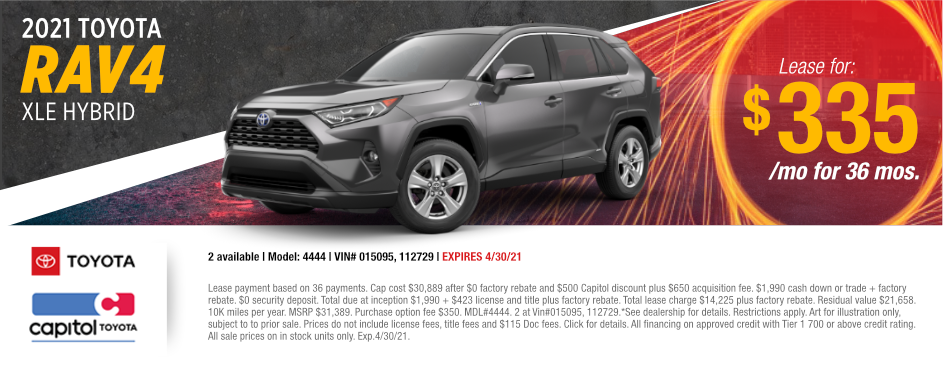 2021 Toyota RAV4 XLE Hybrid Lease Special at Capitol Toyota in Salem, OR
