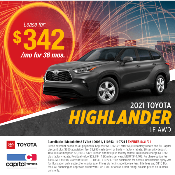 2021 Toyota Highlander LE AWD Lease Special at Capitol Toyota in Salem, OR
