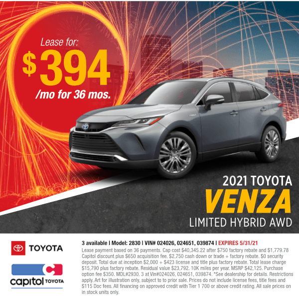 2021 Toyota Venza Limited Hybrid AWDLease Special at Capitol Toyota in Salem, ORLease Special at Capitol Toyota in Salem, OR