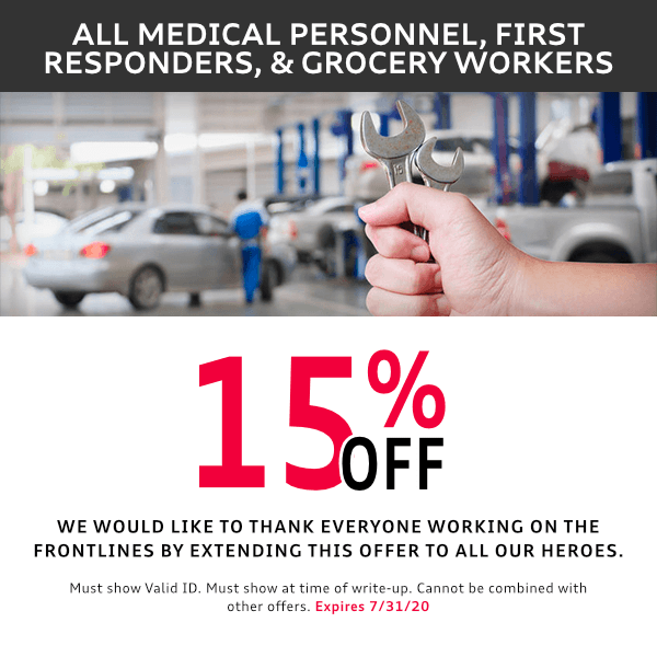 McKenna is offerring all medical personnel and first responders and grocery works savings on services at McKenna Audi