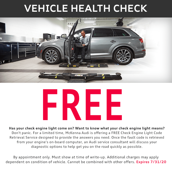 McKenna is offerring a free vehicle health check for a limited time
