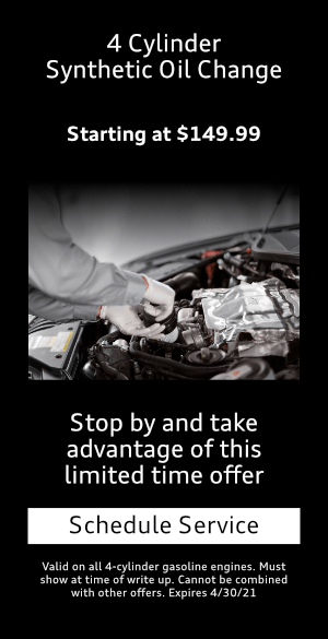 4 Cylinder $149.99 Synthetic Oil Change at Mckenna Audi