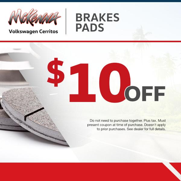 Brake Pads $10 Off at Mckenna Volkswagen Cerritos