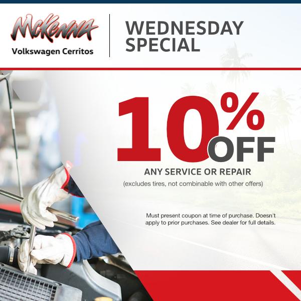 Wednesday Service Special at Mckenna Volkswagen Cerritos