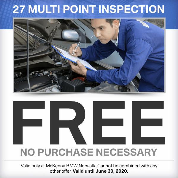 Free 27 Multi point inspection at Mckenna BMW in Norwalk, CA
