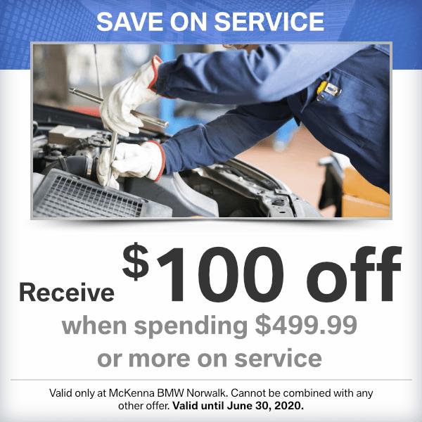 Save on Service: Receive $100 off when spending $499.99 or moreat Mckenna BMW in Norwalk, CA