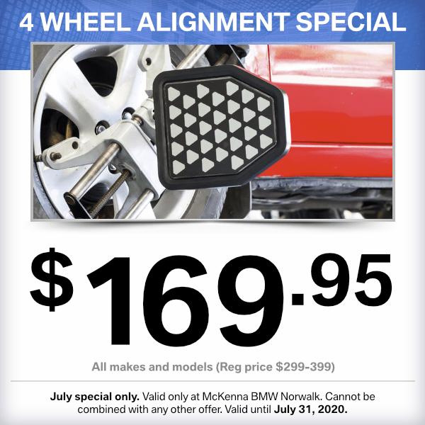 4 wheel alignment special savingsat Mckenna BMW in Norwalk, CA